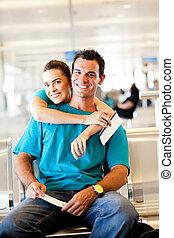 飛行, 恋人, 待つこと, 若い, ∥(彼・それ)ら∥, 空港, 幸せ