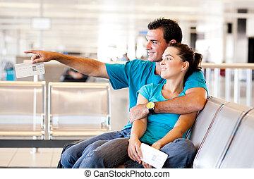 飛行, 恋人, 空港, 若い, 待つこと, 偶然