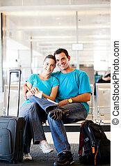 飛行, 恋人, 空港, 若い, 待つこと, 幸せ