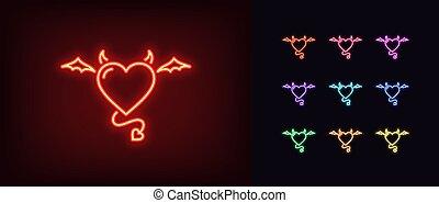 飛行, 悪魔, 心, 悪魔, 白熱, 愛, ネオン, icon., 悪, 心, 尾, horns., 翼