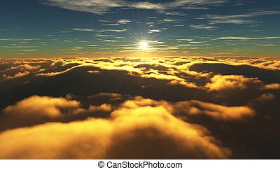 飛行, 曇り, clouds., 間, の上, 日の出, 光景