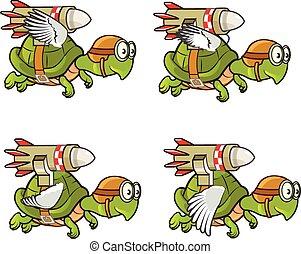 飛行, 海龜, 由于, 火箭, 子畫面