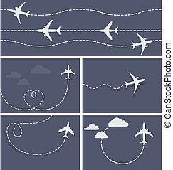 飛行, 点を打たれた, 跡, -, 飛行機, 飛行機, 心の形をしている, ループ
