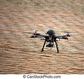 飛行, 無人機, ∥で∥, カメラ, 上に, 地面