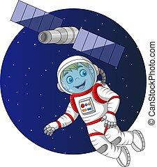 飛行, 男の子, 漫画, 宇宙飛行士, スペース