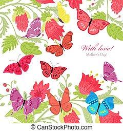 飛行, 蝶, デザイン, 招待, 花, あなたの, カード