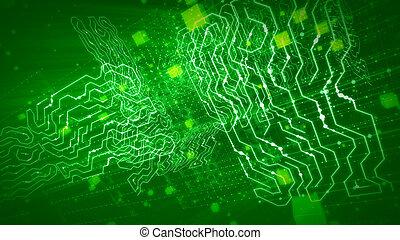 飛行, 裡面, 綠色, 處理器, 板