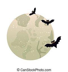 飛行, 隔離された, 月, フルである, コウモリ, アイコン
