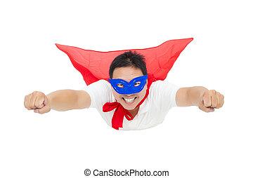 飛行, 隔離された, 背景, 白, cape., 赤, スーパーマン