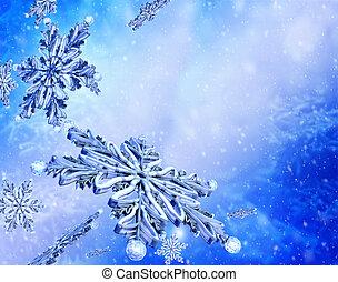 飛行, 雪片, 上に, 青い雪, バックグラウンド。