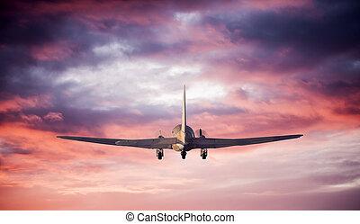 飛行, 飛行機, シルエット