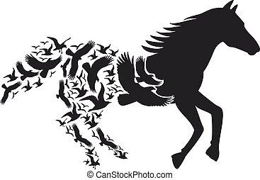 飛行, 馬, ベクトル, 鳥