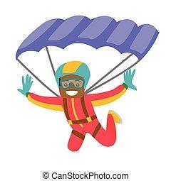 飛行, 黑人, parachute.