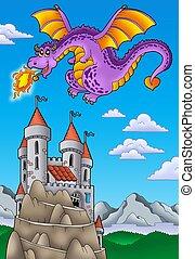 飛行, 龍, 由于, 城堡, 上, 小山