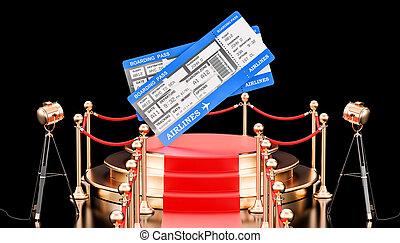 飛行, concept., 空気, レンダリング, 演壇, tickets., 最も良く, 3d