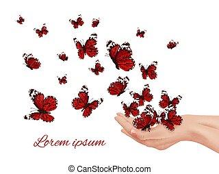 飛行, hands., 蝶, 有色人種, 翼, 多数, 蝶, farfalle, papillon, 概念, ベクトル...