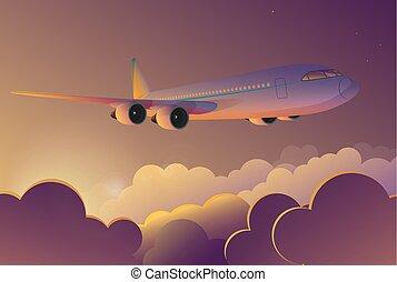 飛行, illustration., 旅行, 飛行, 空, sunrise., ベクトル, 飛行機, 漫画, 旅行