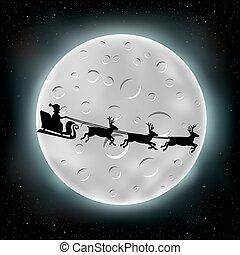 飛行, santa, 月