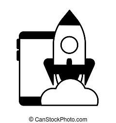 飛行, smartphone, 火箭, 向上, 事務, 開始