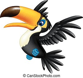 飛行, toucan, 幸せ