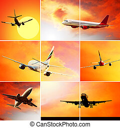 飛, 云霧, 拼貼藝術, 飛机, 天空, 相片