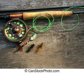 飛, 圖片, 鞭笞, 木頭, 釣魚, 偏光板
