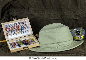 飛, 箱子, 戶外, 外套, 鞭笞, 捕帽子