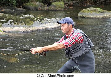 飛, 線, 河, 漁夫, 釣魚