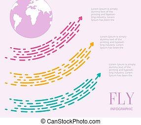 飛, infographics, ......的, 三, steps., 大, 加點, 箭, 紅色, yello
