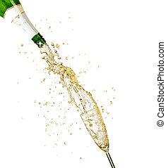 飞溅, 隔离, 香槟酒, 主题, 背景, 白色, 庆祝
