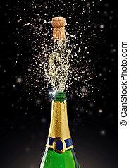 飞溅, 香槟酒, 黑色, 主题, 庆祝