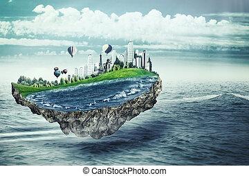 飞行, island., eco, 概念, 带, 荒诞, 岛, 结束, 海, 表面
