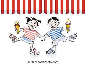 食べなさい, 子供, アイスクリーム