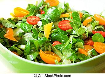食べなさい, healthy!, 新鮮な野菜, サラダ, サービスされた, 中に, a, 緑 サラダ, ボール