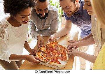 食べること, オフィス, ビジネス チーム, 幸せ, ピザ