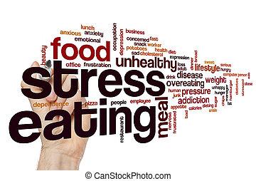 食べること, ストレス, 単語, 雲