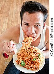 食べること, スパゲッティ, 人