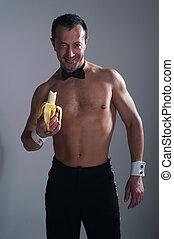 食べること, バナナ, 人