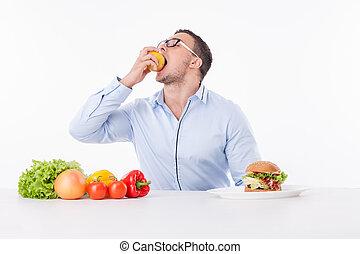 食べること, フィットしなさい, 健康, prefers, 若い, 朗らかである, 人