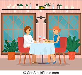 食べること, 人, 恋人, カフェテリア, 女, 食物