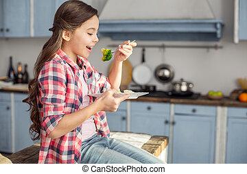 食べること, 健康, 野菜, 女の子, 朝食, 幸せ