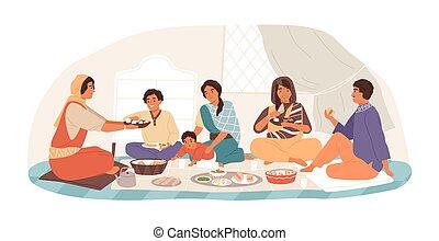 食べること, 夕食, 休日, illustration., 子供, 一緒に, 人々, 微笑, 伝統的である, 祖父母, ...