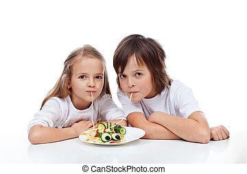 食べること, 子供, スパゲッティ