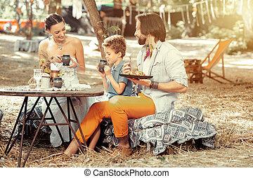 食べること, 家族, 健康, ポジティブ, 一緒に, 食物, すてきである