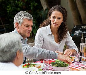 食べること, 家族, 庭, 幸せ