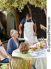 食べること, 庭, 家族