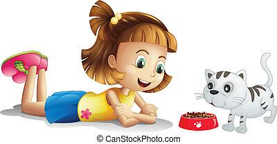 食べること, 彼女, 監視, ペット, 若い 女の子