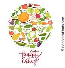食べること, 扇動, 健康, ポスター, 野菜, 新たに, 有機体である
