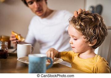 食べること, 父, 若い, 息子, 屋内, 朝食, よちよち歩きの子, home.