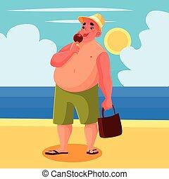 食べること, 脂肪, 氷, 人, 浜, クリーム